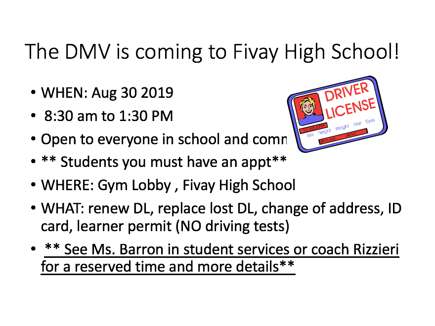 The DMV is coming to FHS