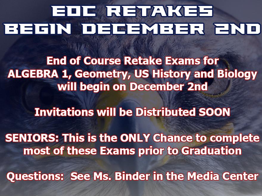 EOC Exam Retakes – December 2nd