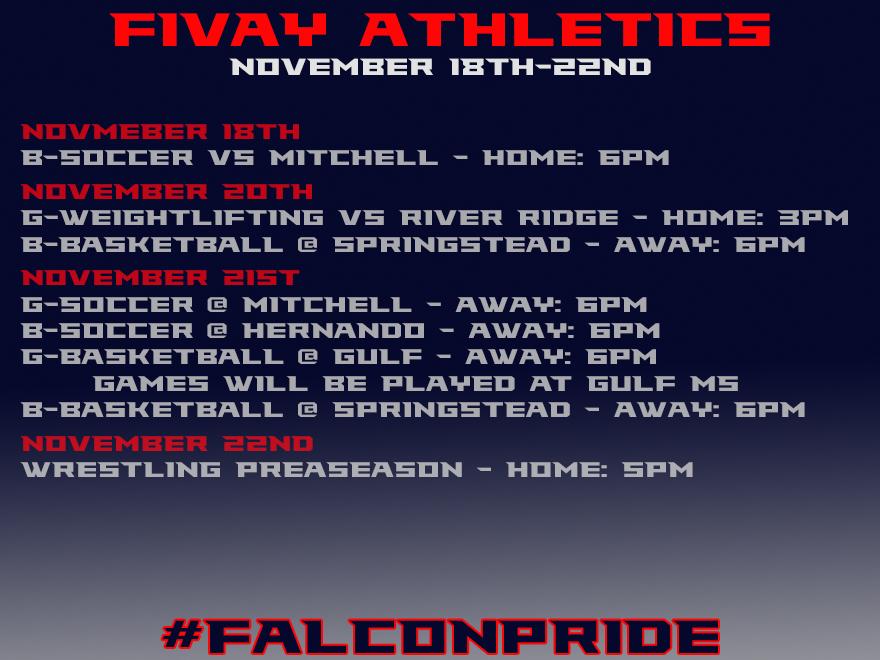 Fivay Athletics This Week