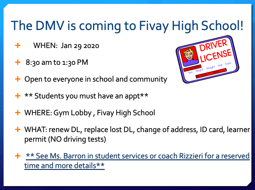 The DMV is Coming to Fivay on January 29th
