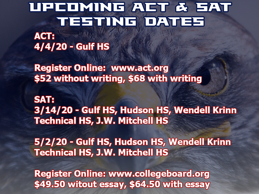 Upcoming ACT and SAT Testing Dates